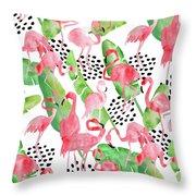 Flamingo Paradise Throw Pillow