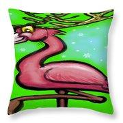 Flamingo Reindeer Throw Pillow
