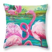 Flamingo Vacation Throw Pillow