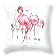 Flamingoes Throw Pillow