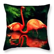 Flamingos - 1 H B Throw Pillow