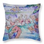 Flamingos  Throw Pillow
