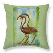 Flamingos In Vail Throw Pillow