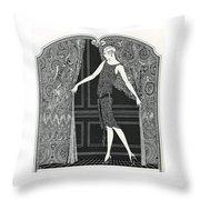 Flapper Opening A Curtain Throw Pillow