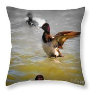 Flapping Lesser Scaup Throw Pillow