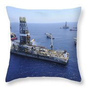 Flaring Operations Conducted Throw Pillow by Stocktrek Images