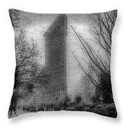 Flat Iron Snow Throw Pillow