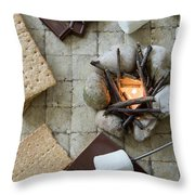 Flat Lay Camp Fire S'mores Deconstructed Throw Pillow