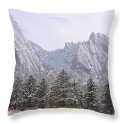 Flatirons From The South Boulder Colorado Throw Pillow