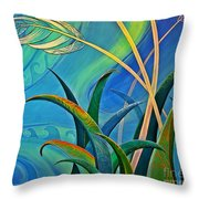 Flax Harakeke By Reina Cottier Throw Pillow