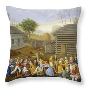 Flax Scutching Bee Throw Pillow
