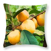Fleshy Yellow Plums On The Branch Throw Pillow