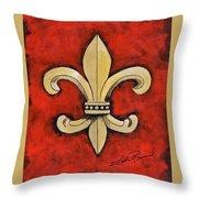 Fleur De Lies Red Background Throw Pillow