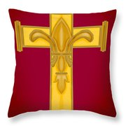 Fleur De Lis In Cross On Red Throw Pillow