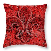 Fleur De Lis Red Ice Throw Pillow