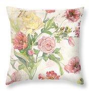 Fleurs De Pivoine - Watercolor In A French Vintage Wallpaper Style Throw Pillow