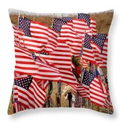 Flight 93 Flags Throw Pillow