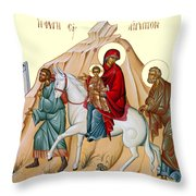 Flight Into Egypt Painting At Shepherds Field Throw Pillow