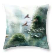 Flight Through The Mountains Throw Pillow by Brandy Woods