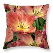 Flighty Tulips Throw Pillow