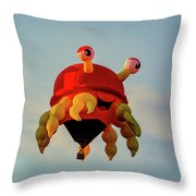 Floating Aerial Photographer And The Smiling Crab Throw Pillow