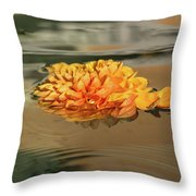 Floating Beauty - Hot Orange Chrysanthemum Blossom In A Silky Fountain Throw Pillow