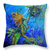 Floating Blond Mermaid Throw Pillow
