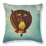 Floating Cat - Hot Air Balloon Throw Pillow