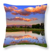 Floating Clouds And Reflections Throw Pillow