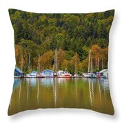 Floating Homes Along Multnomah Channel In Portland Oregon Throw Pillow