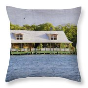 Floating House In La Parguera Puerto Rico Throw Pillow