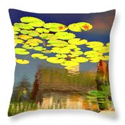 Floating Lily Pond Throw Pillow
