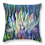 Floating Lotus - I Believe In You Throw Pillow