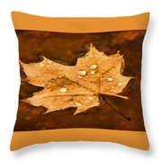Floating Maple Leaf Pnt Throw Pillow