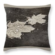 Floating Maple Leaves Bw Throw Pillow