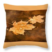 Floating Maple Leaves Pnt Throw Pillow