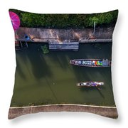 Floating Market Aerial View Throw Pillow by Pradeep Raja PRINTS