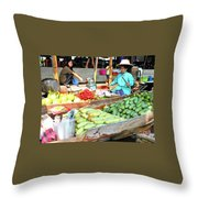 Floating Market In Thailand Throw Pillow