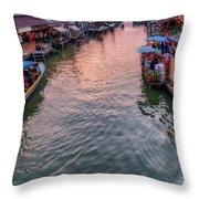 Floating Market Sunset Throw Pillow
