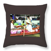 Floating Market Thailand Throw Pillow