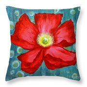 Floating Poppy Throw Pillow