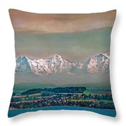 Floating Swiss Alps Throw Pillow