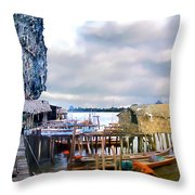 Floating Village Thailand Throw Pillow