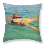 Floating Young Couple Throw Pillow by Tomas del Amo - Printscapes