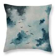 Flock Of Birds Against A Dark Sky  Throw Pillow