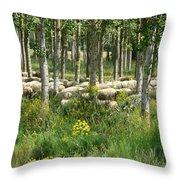 Flock Of Sheep Throw Pillow