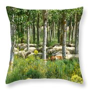 Flock Of Sheep With A Goat Throw Pillow