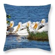 Flock Of White Pelicans Throw Pillow