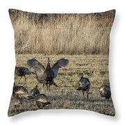 Flock Of Wild Turkeys Throw Pillow
