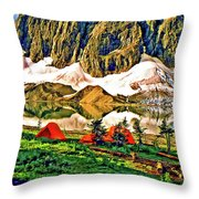 Floe Lake Painted Throw Pillow